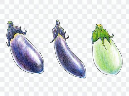ナス3種(色鉛筆画)
