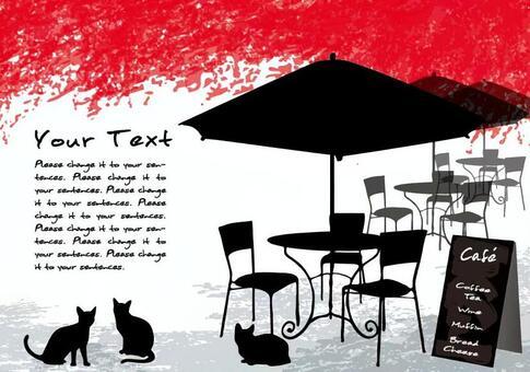 Autumn leaves cafe 1 message card black cat
