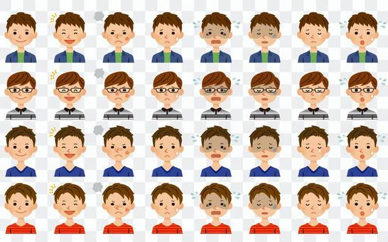 男性的面部表情集