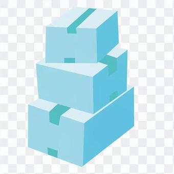 引っ越し-積まれたダンボール箱(青、3つ)