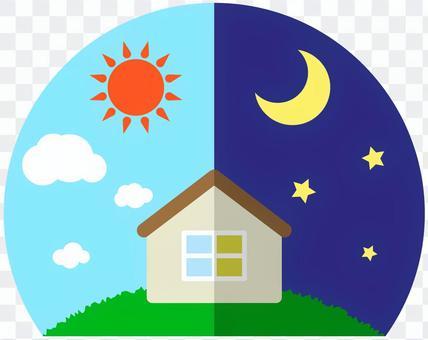 シンプルな家と昼と夜