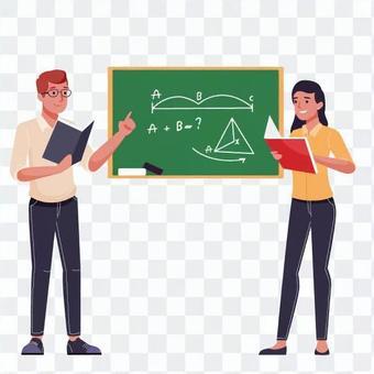 使用黑板教書的老師