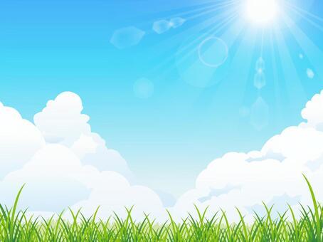 夏天陽光和草地背景(RGB)
