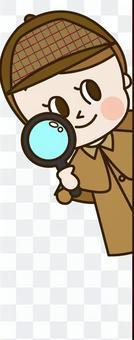 偵探年輕女子透過牆看(偵探7)