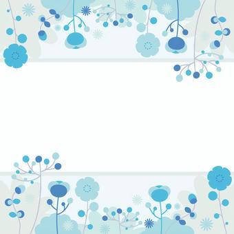 藍色的花朵頂部和底部裝飾框架
