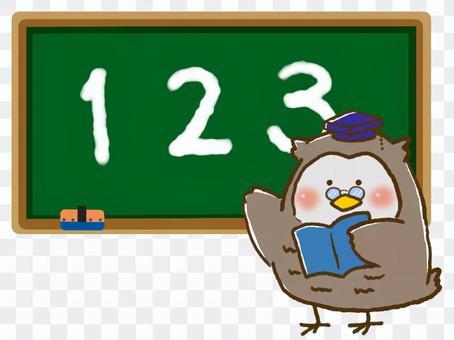 教師貓頭鷹和黑板(教學編號)