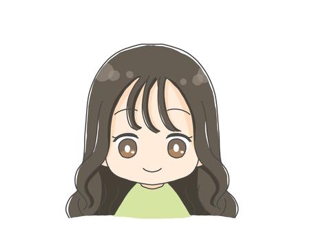 Cute girl icon with long hair