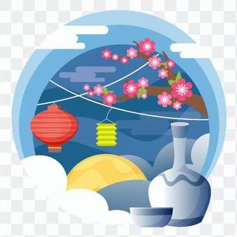 燈籠裝飾和滿月