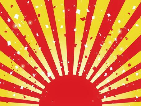 日出和紅色和白色五彩紙屑02
