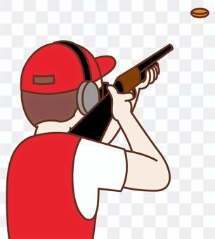 Clay pigeon shooting illustration