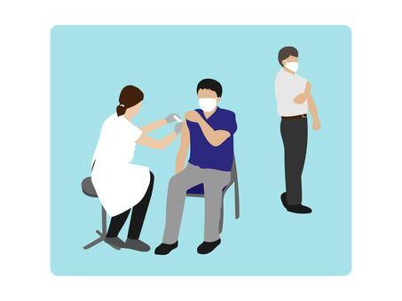 一個人要接種疫苗的插圖