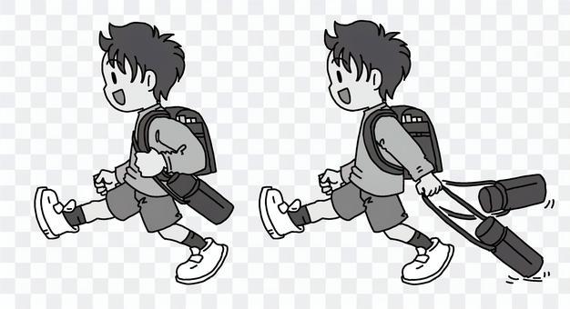 男孩拖水缸黑色和白色