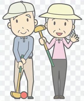 老年夫婦 - 盛大高爾夫球 - 全身