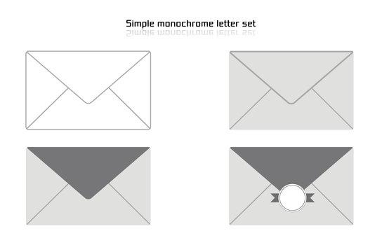 Letter set simple monochrome color
