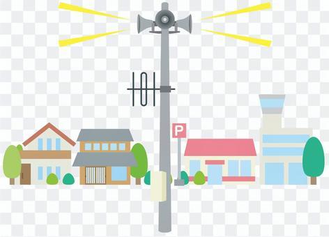 Disaster prevention radio Substation speaker in a residential area