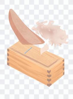 鰹節削り器で美味しいかつおぶしを削る絵