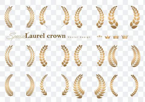 Laurel crown emblem illustration material 01