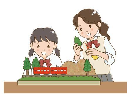 做模型鐵路的女學生