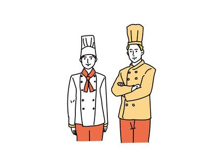 廚師和糕點廚師的線描觸摸插圖