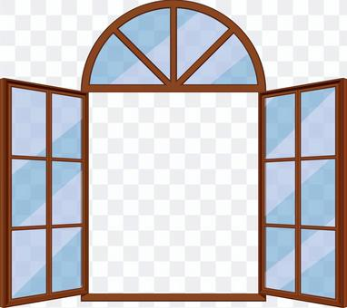 Arched open-style window frame