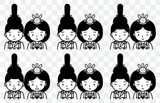 Hina娃娃面部表情套裝(上身)(黑色和白色)