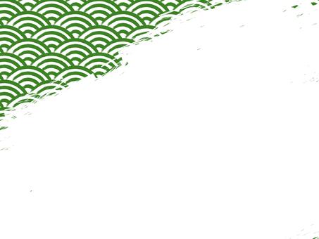 毛筆寫青海波浪填充背景:左上:綠x白