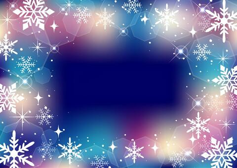 きらめく雪の結晶背景フレーム