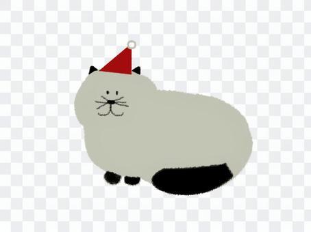 貓聖誕老人_灰色