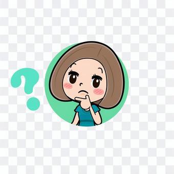 緑ドレス若い女性 アイコン疑問