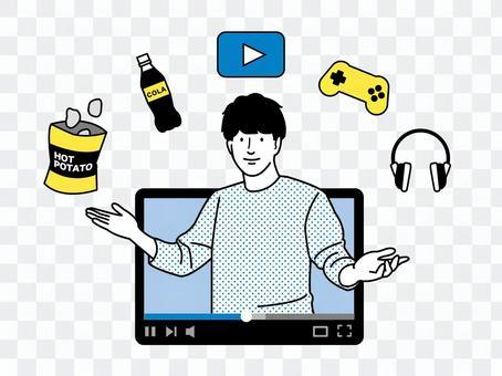 動画配信する男性