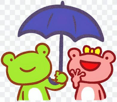 Frog each other umbrella