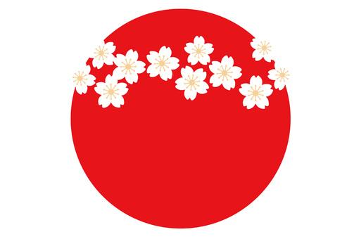 日之丸和花新年賀卡模板