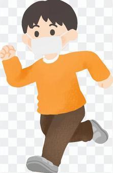 マスクをつけて走る子供