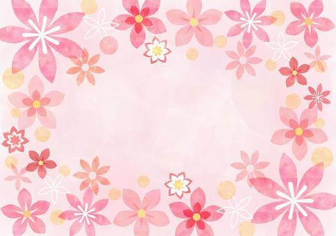 花_粉红色_粉彩_框架