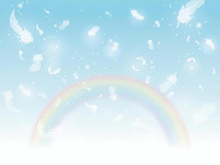 天空和彩虹跳舞的羽毛