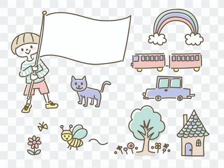 手繪兒童動物彩虹小車火車插畫