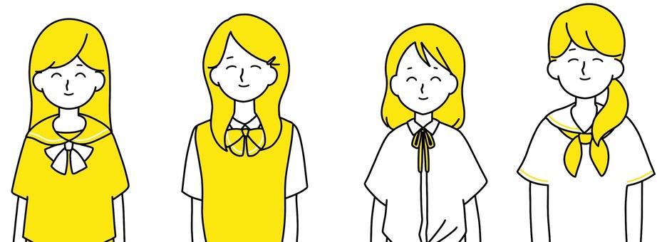 Smiley high school girl clean design yellow