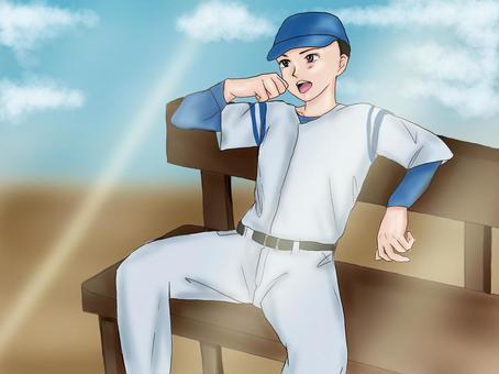 棒球男孩坐在長椅上,歡呼(背景)