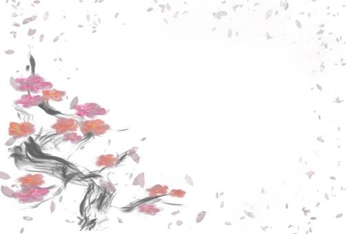 Plum blossom-horizontal writing-hagaki size