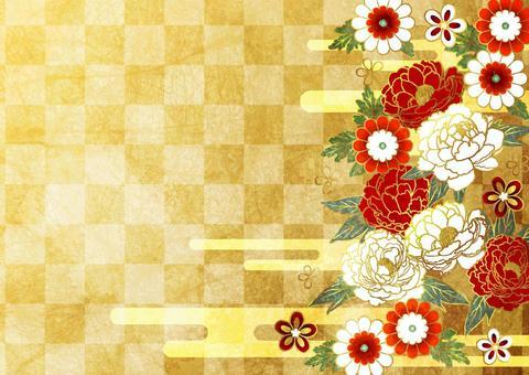 水彩風格牡丹和日本花和雲花紋背景金色水平