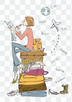 計劃旅行的女人的插圖