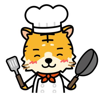 帶煎鍋的老虎廚師的上半身