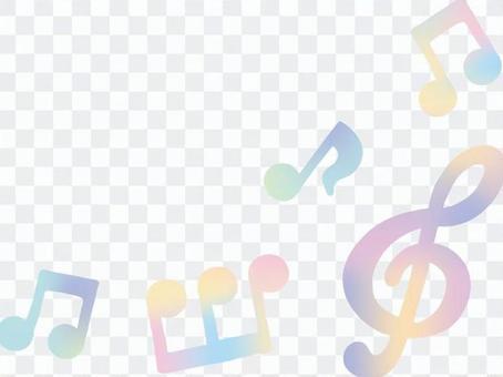 水彩音符フレーム4縦