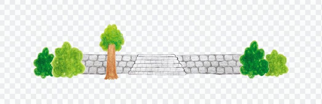 Handwritten illustration of stone wall