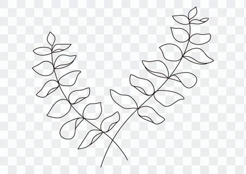 桉樹枝線畫單色素材