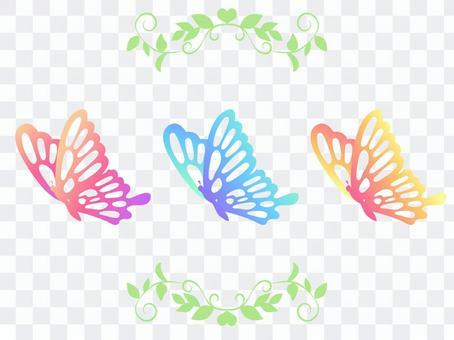 粉色和淺藍色,黃色燕尾蝶03(無線條)