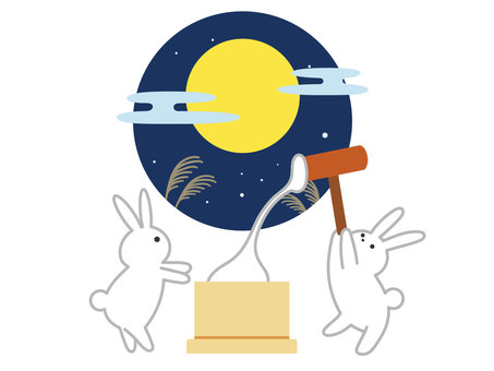 Rabbits with moon-viewing rice cakes