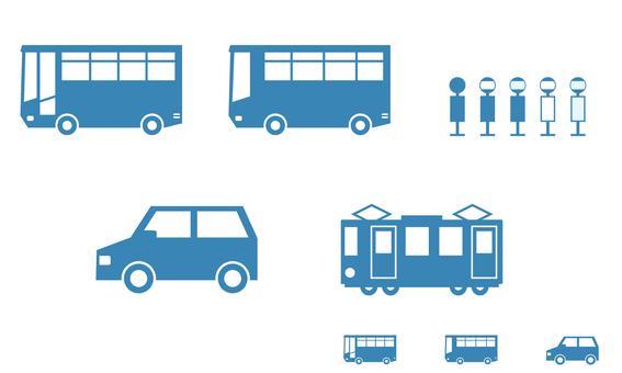 交通圖標(公共汽車、汽車、火車)