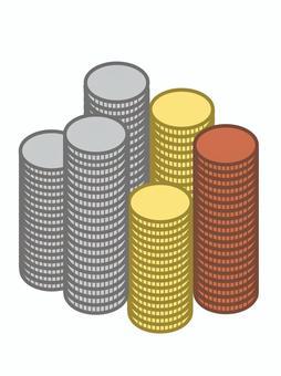 堆疊硬幣金幣銀幣銅幣