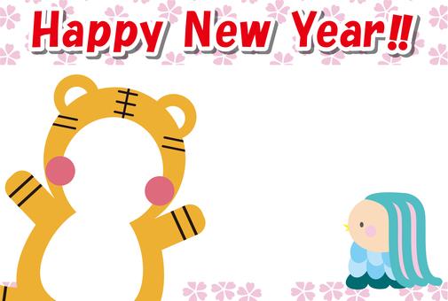 12張新年賀卡_Amabie,英式小櫻,臉鞍